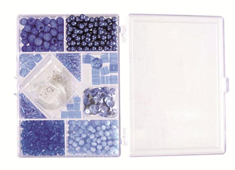 Blaue Perlen in Rechteck-Box