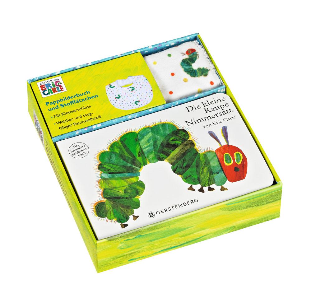 Die kleine Raupe Nimmersatt Pappbilderbuch mit Stofflätzchen