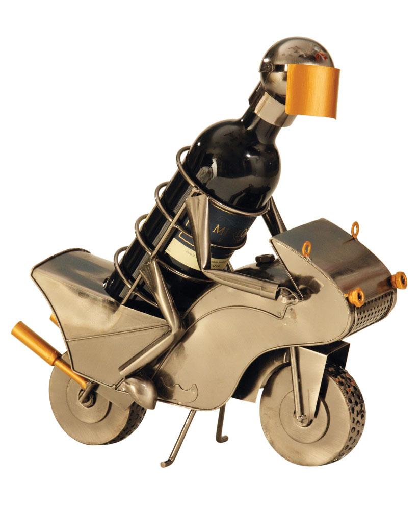 Wein-Flaschenhalter Motorrad-Fahrer mit Helm
