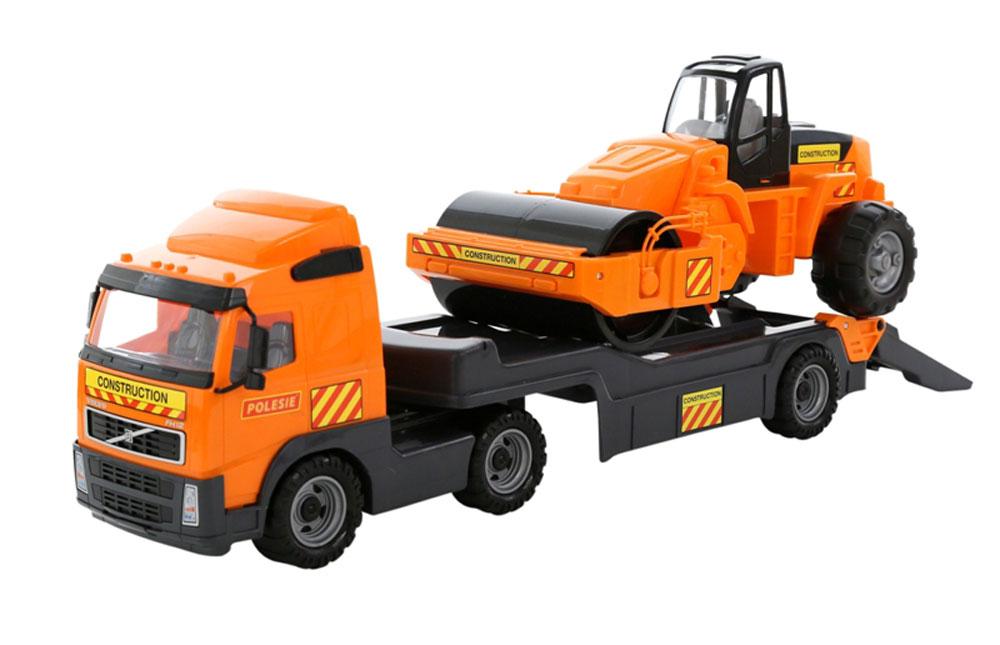 Wader Volvo Truck Tieflader mit Straßenwalze