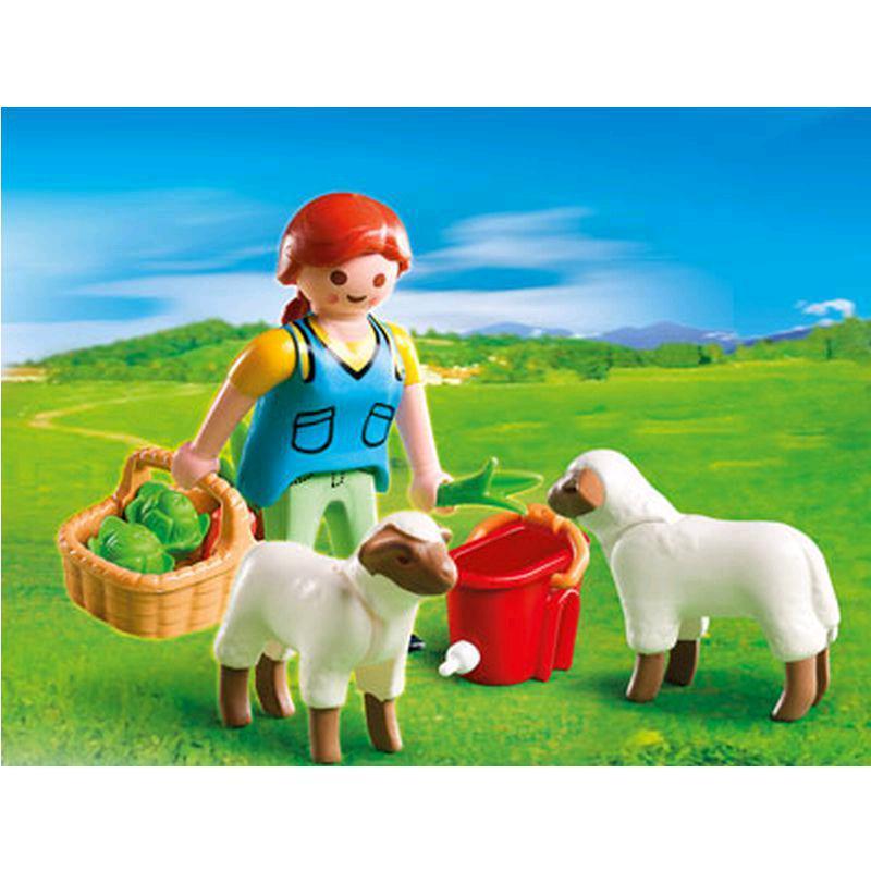 PLAYMOBIL 4765 Bäuerin bei Schäfchen-Fütterung