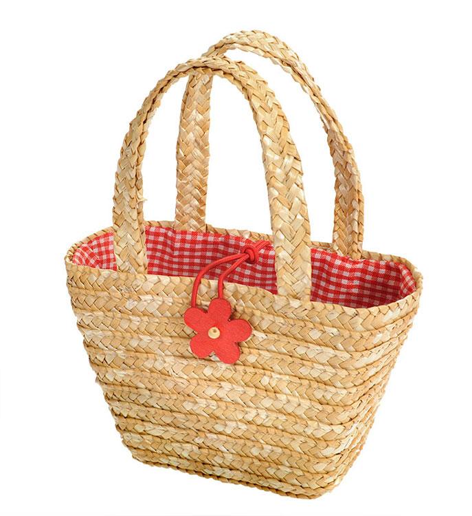 Einkaufstasche mit Blume natur