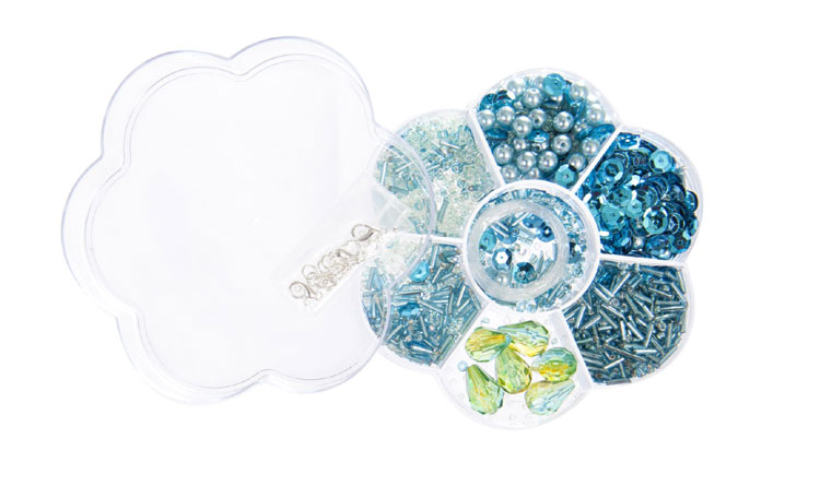 Türkis Perlen in Blumenbox