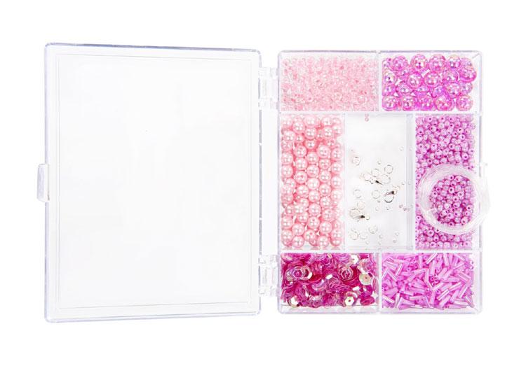 Rosa Perlen in Rechteck-Box