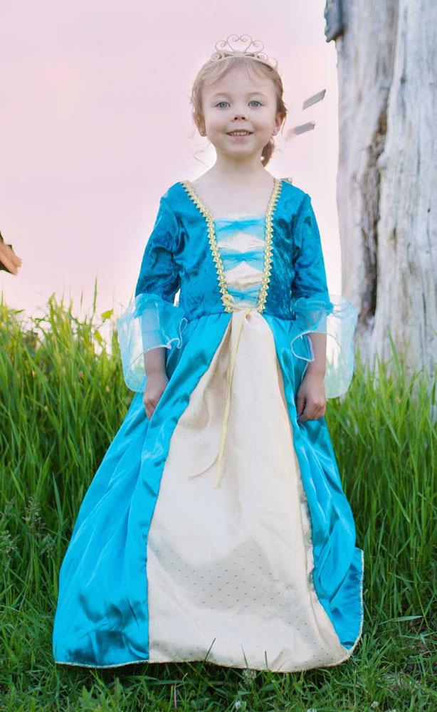 Königinnenkleid, türkis - Kinderkostüm Grösse L