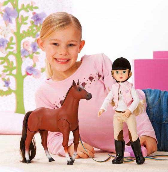 jolina puppe im trainingsoutfit mit laufendem pferd ebay. Black Bedroom Furniture Sets. Home Design Ideas