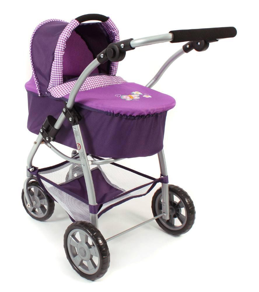 Puppen & Zubehör Kombi-Puppenwagen BAMBINA Dessin Dots Brombeere Puppenwagen