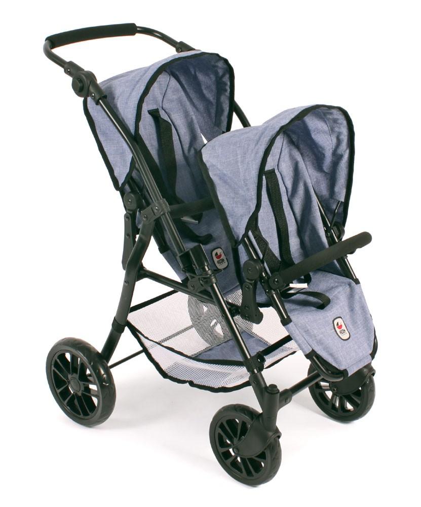 Tandem-Buggy Twinny für Puppen, Jeans blue
