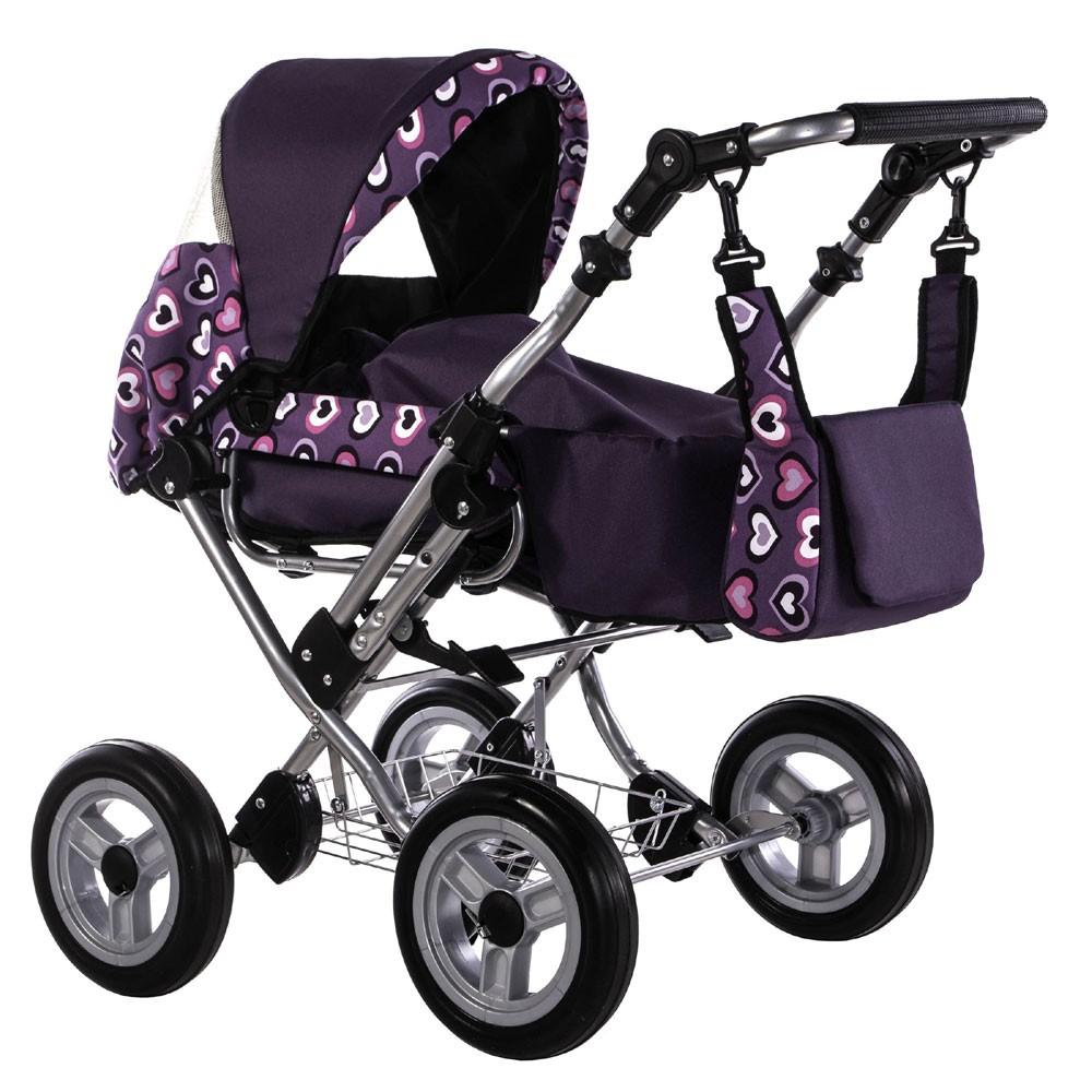 Kombi-Puppenwagen Zeki de LUXE Dessin: Herzen Violett