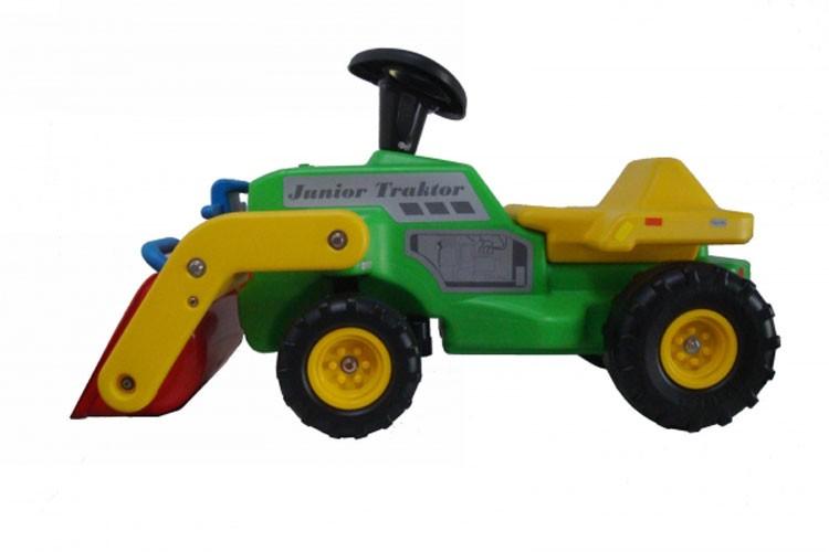 Babyrutscher Traktor mit Frontschaufel, grün