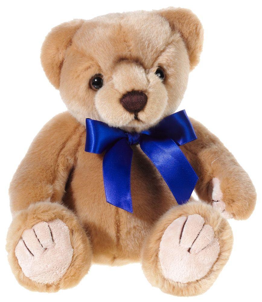 MI CLASSICO Bär braun, mit azur-blauer Schleife, Grösse 20 cm