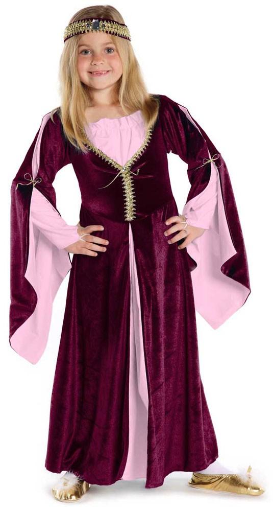 Lady Kate-Kleid weinrot, Kinderkostüm, Grösse M