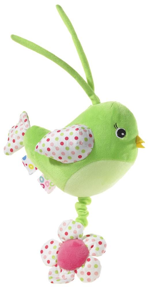Spieluhr Musik Vogel, 15 cm Farbe grün