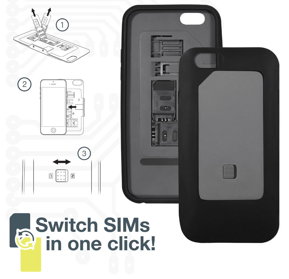 Dual SIM Card Case für iPhone 6