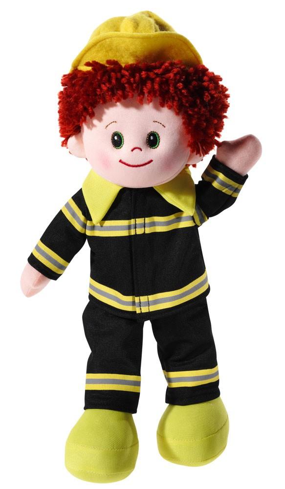 Stoffpuppe Poupetta Feuerwehrmann, Grösse 30 cm