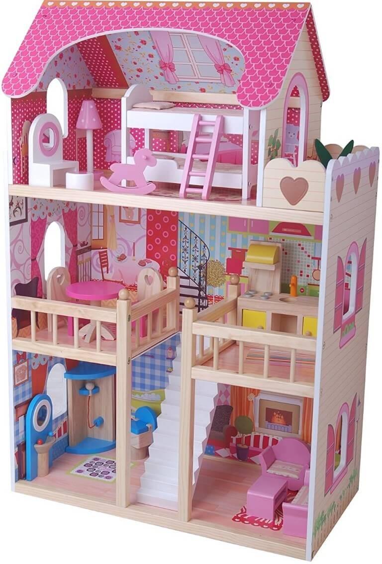 Möbliertes Puppenhaus mit drei Etagen und langer ...